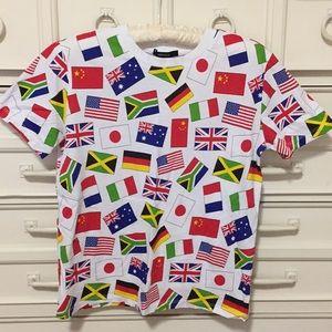 Flag print tee shirt size S